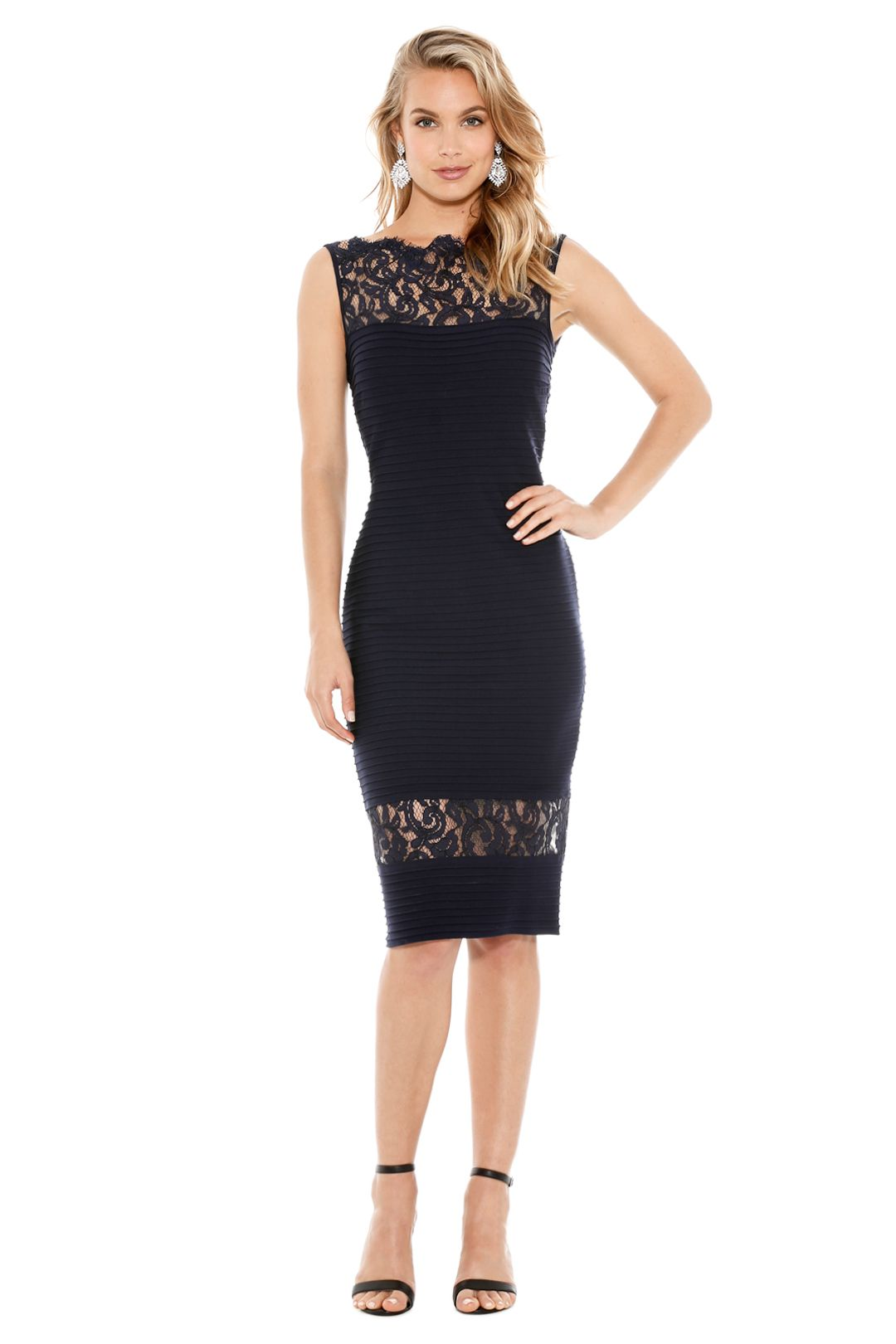 Tadashi Shoji - Petites Illusion Lace Pintucked Dress - Navy Blue - Front