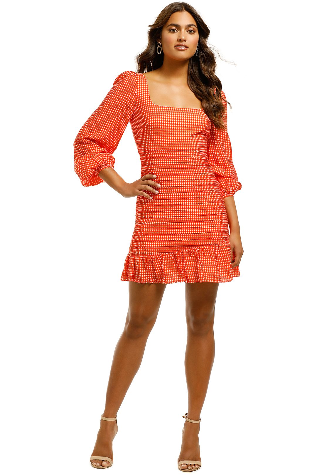 Talulah-Honey Hue LS Mini Dress-Orange-Front