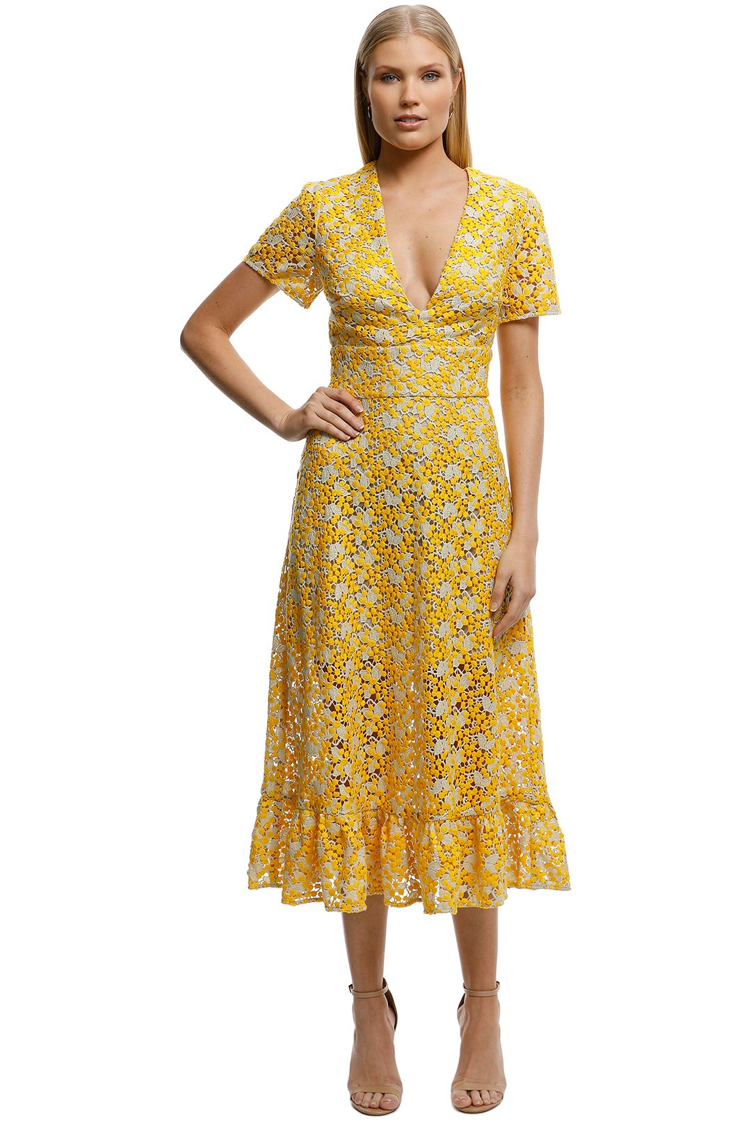 Talulah-Sun Dreams Midi Dress-Yellow-Front