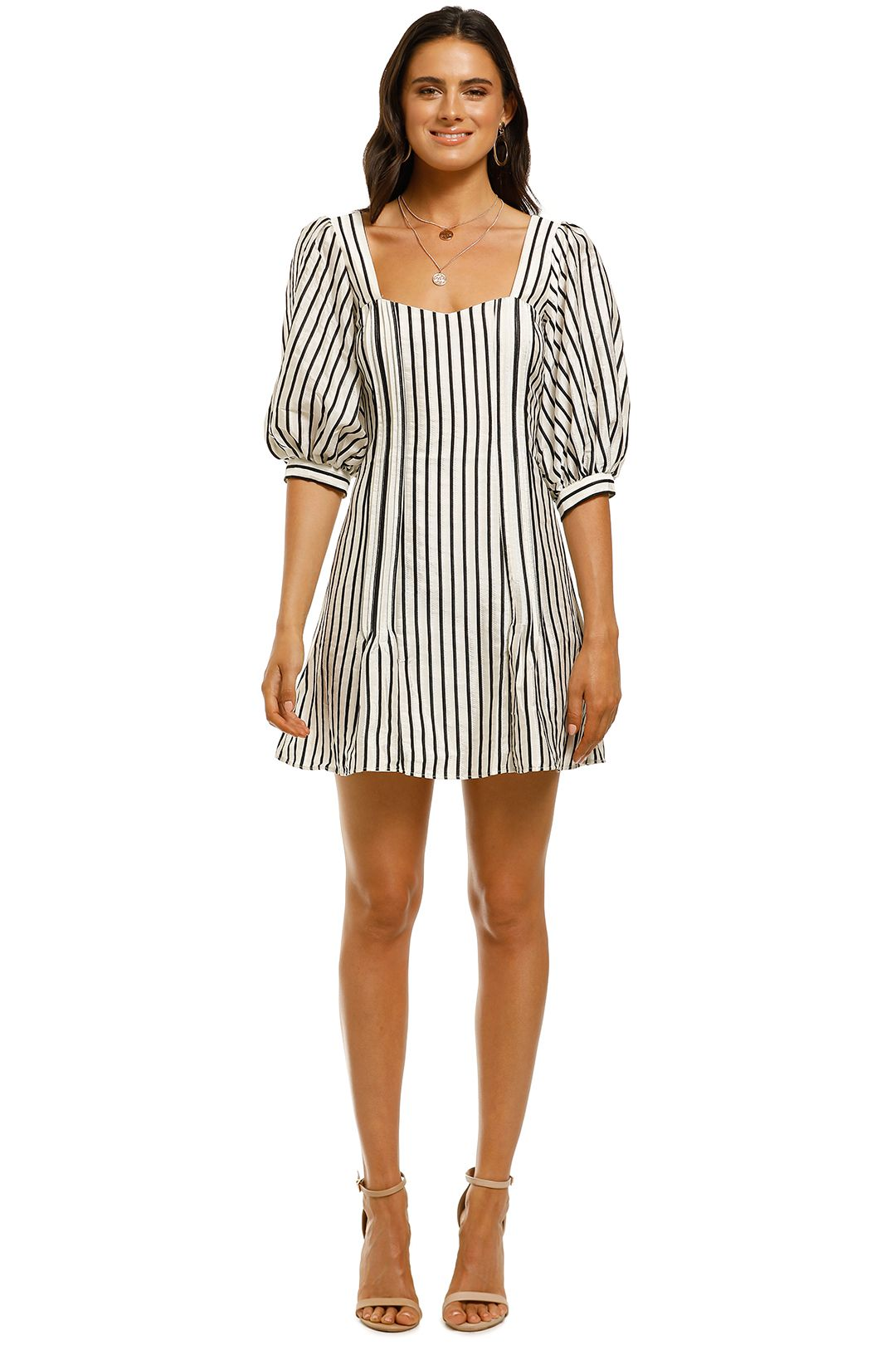 Talulah-Wild-Honey-Mini-Dress-Ecru-and-Green-Stripe-Front