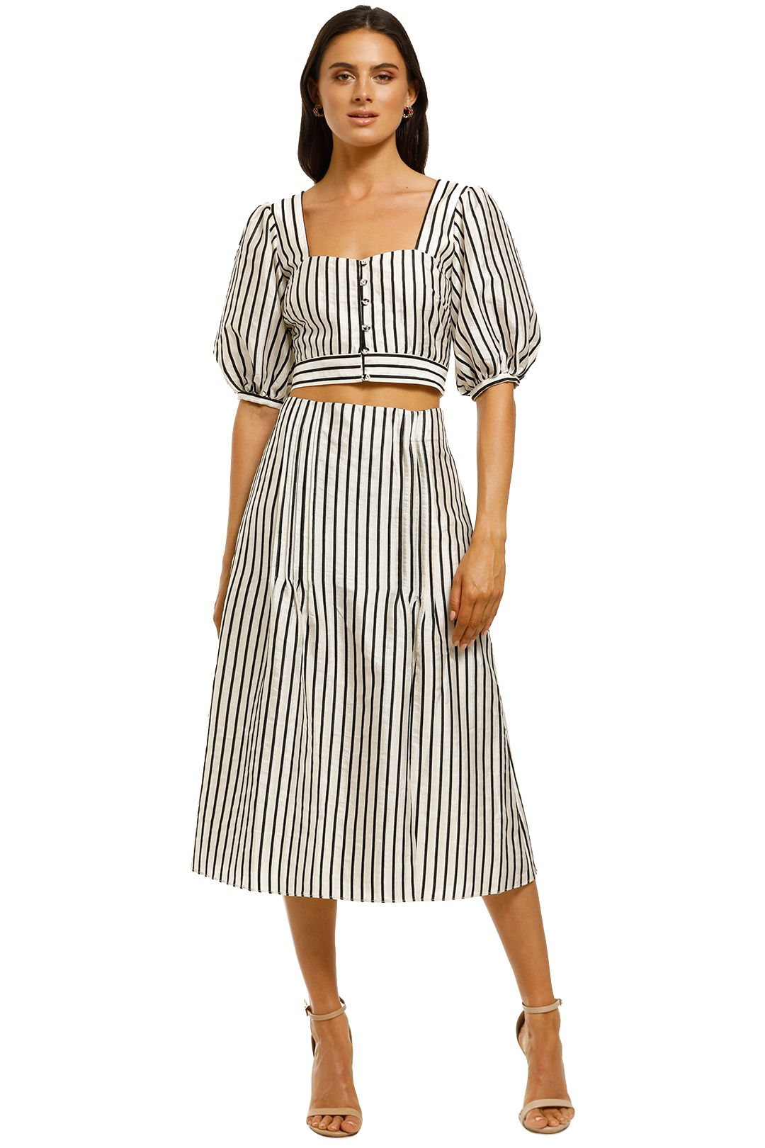 Talulah-Wild-Honey-Top-and-Skirt-Set-Ecru-and-Black-Stripe-Front