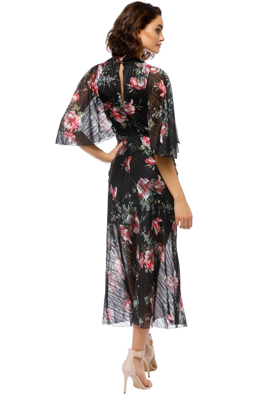 Talulah - Belonging Midi Dress - Black Floral - Back