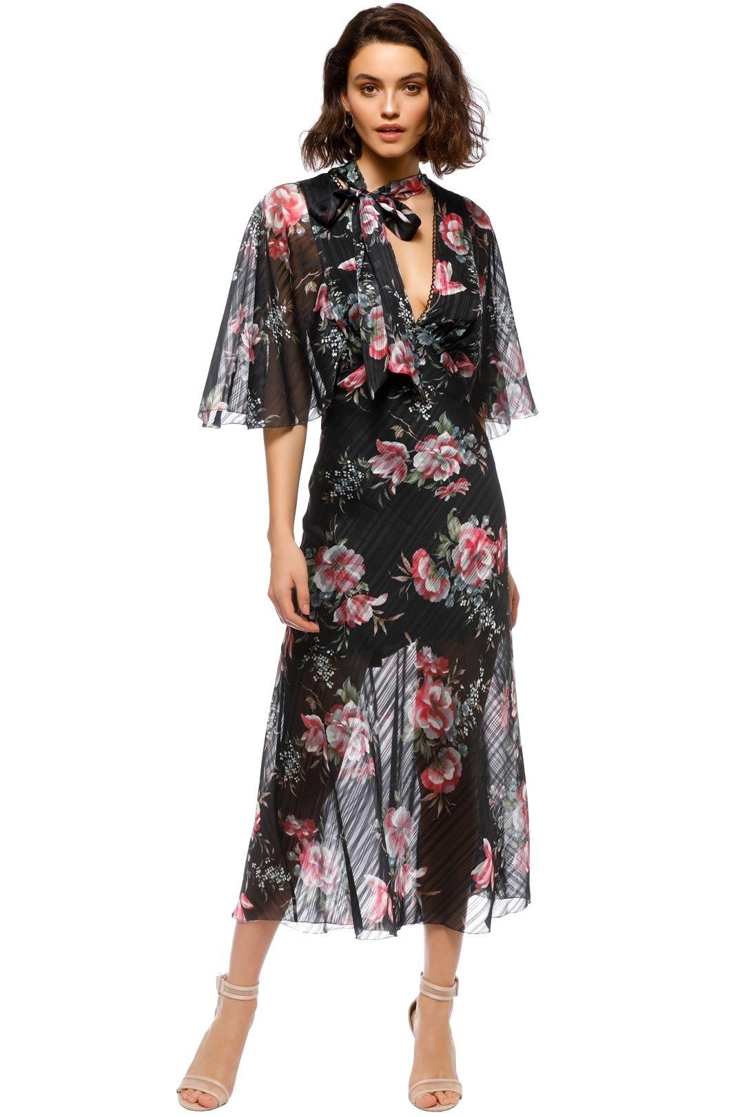 Talulah - Belonging Midi Dress - Black Floral - Front