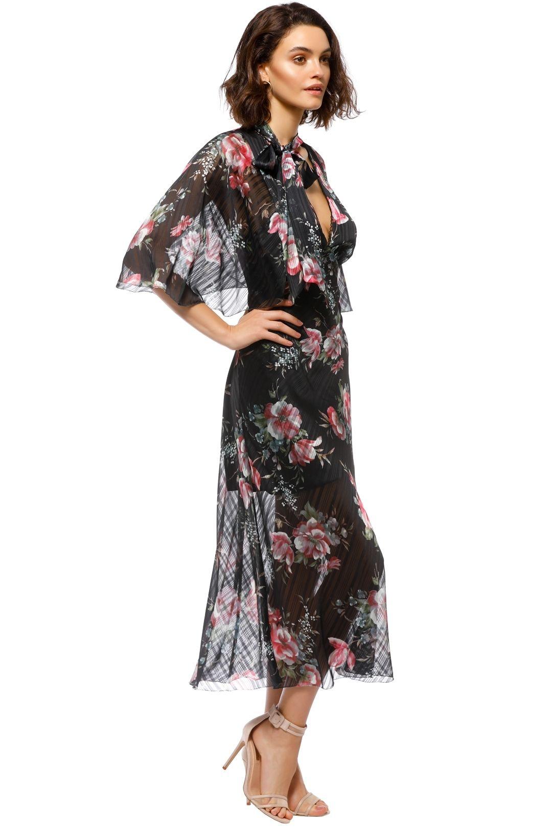 Talulah - Belonging Midi Dress - Black Floral - Side