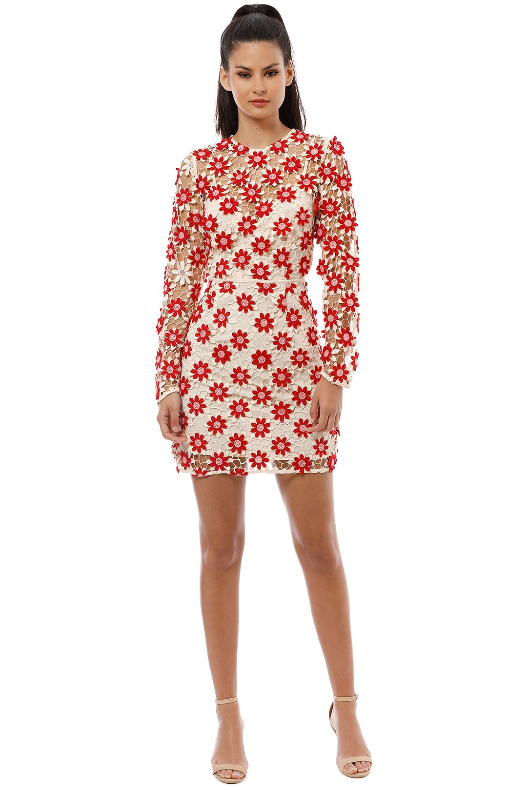Talulah - Britain LS Mini Dress - Red Cream - Front