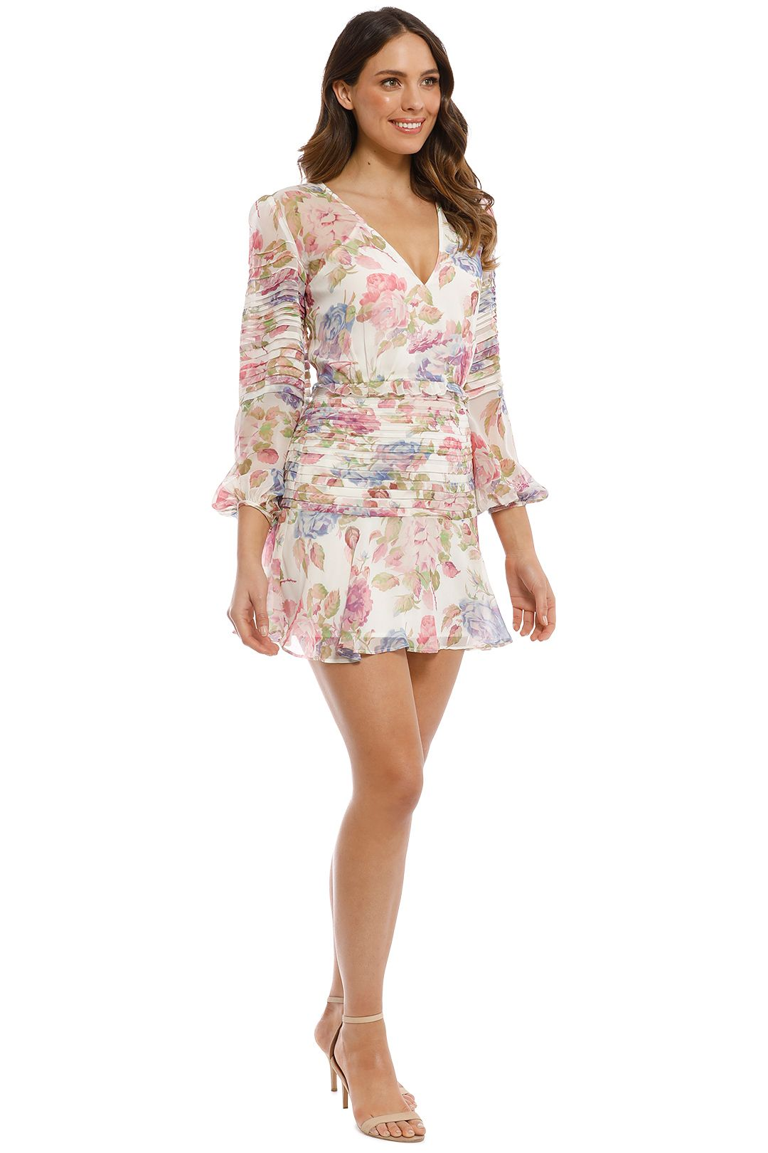 Talulah - Epiphany LS Mini Dress - Ivory Floral - Side