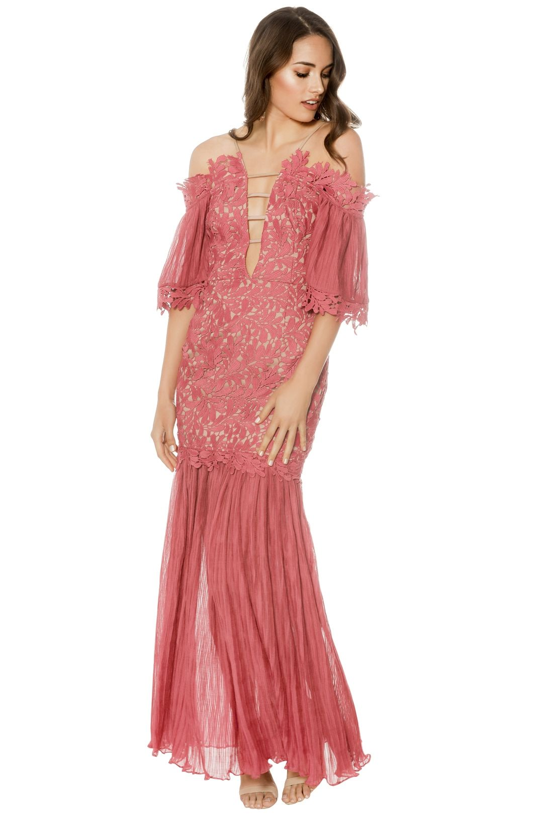 Talulah - Fresco Off Shoulder Gown - Pink - Front