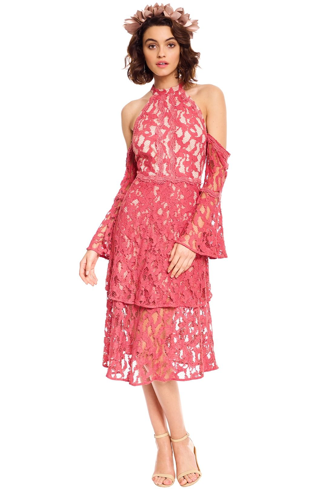 Talulah - Genre Halter Dress - Coral Lace - Front