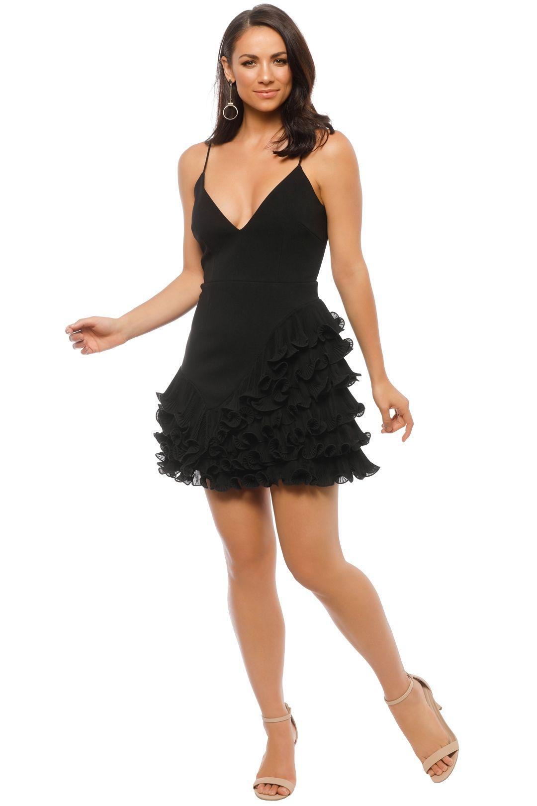 Talulah - Golda Ruffle Mini Dress - Black - Front