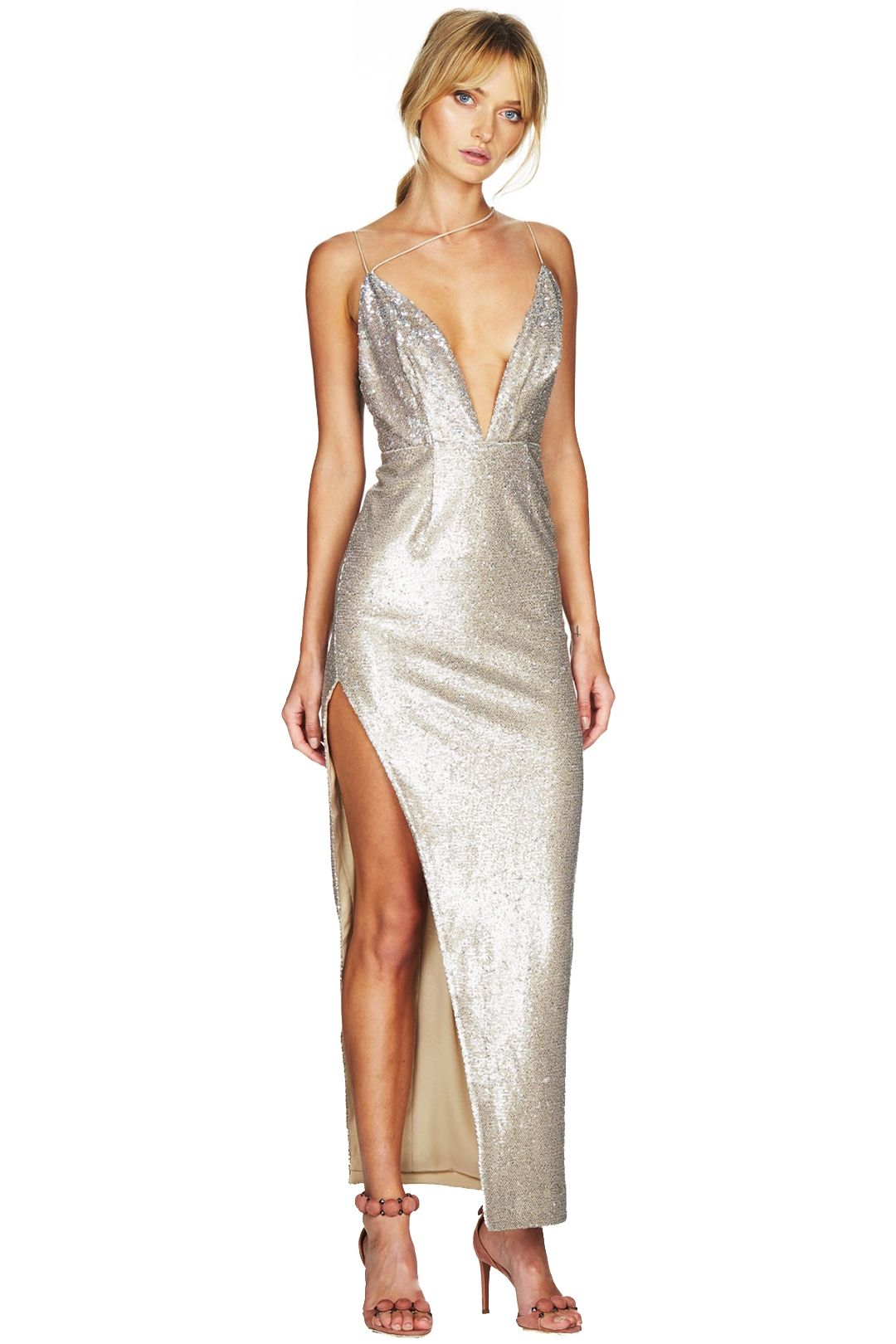 Talulah - Goldie Maxi Dress - Silver - Front