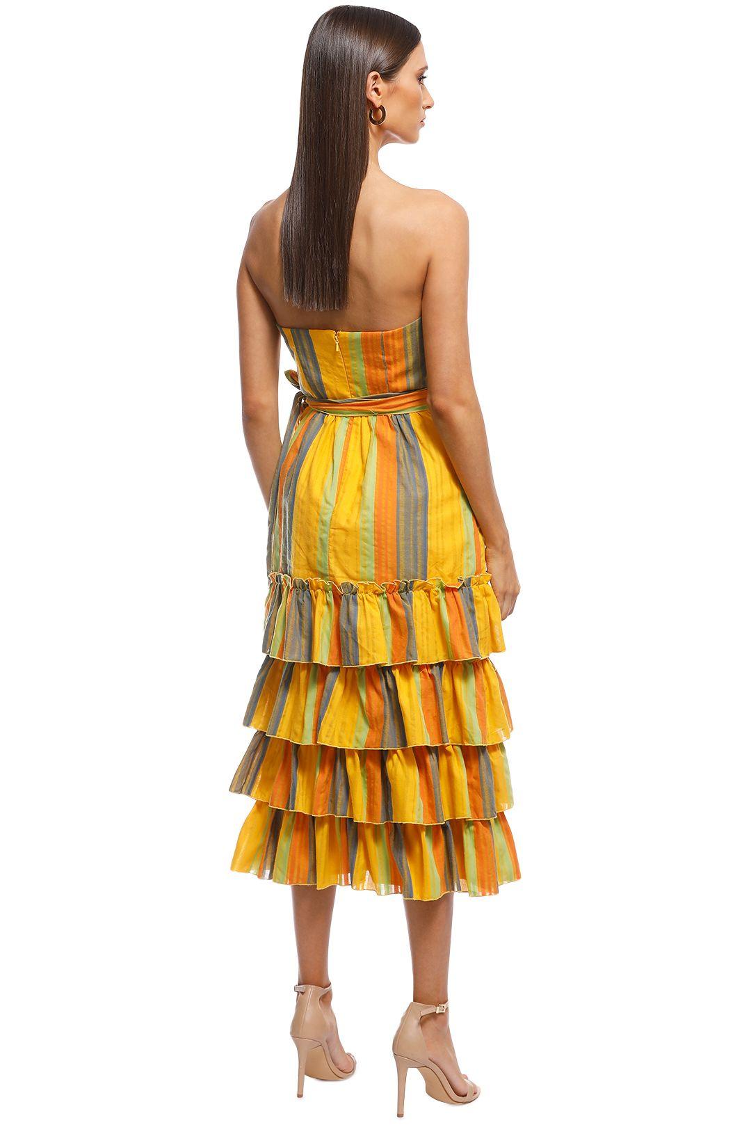 Talulah - Imperial Midi Dress - Yellow Stripes - Back