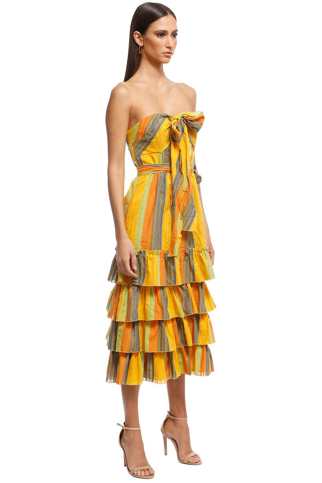 Talulah - Imperial Midi Dress - Yellow Stripes - Side