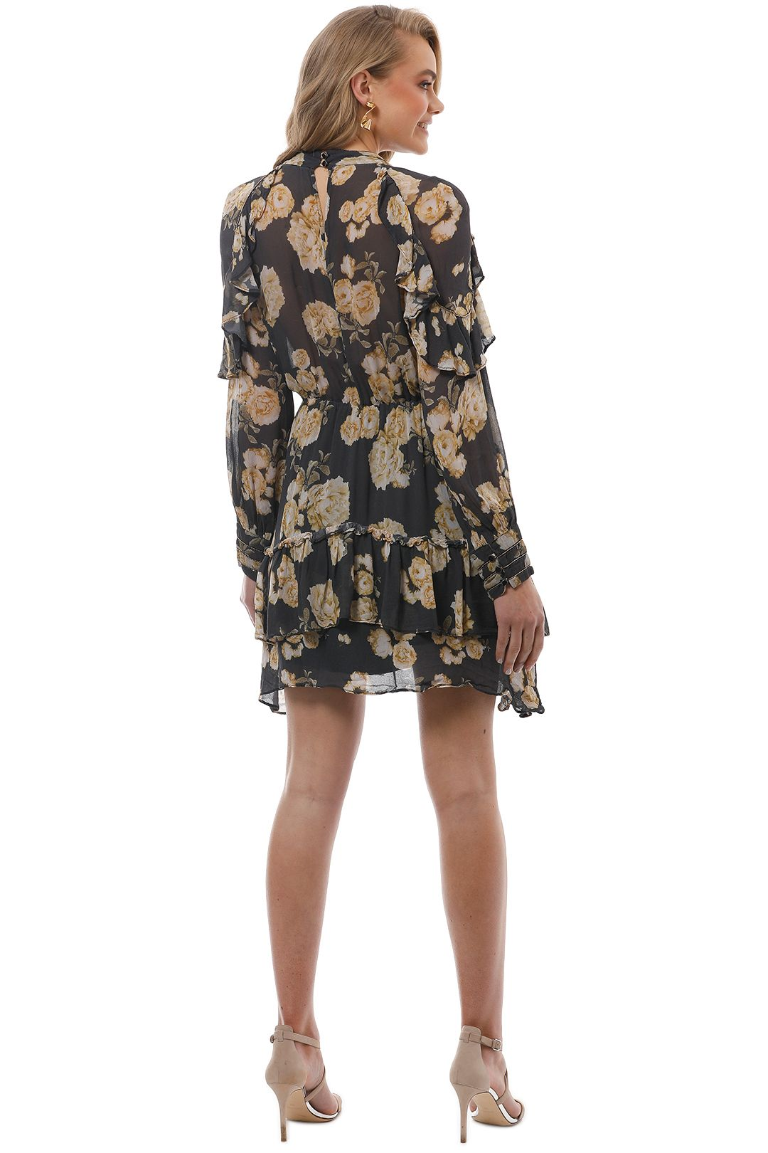 Talulah - In The Mix Mini Dress - Yellow Floral - Back