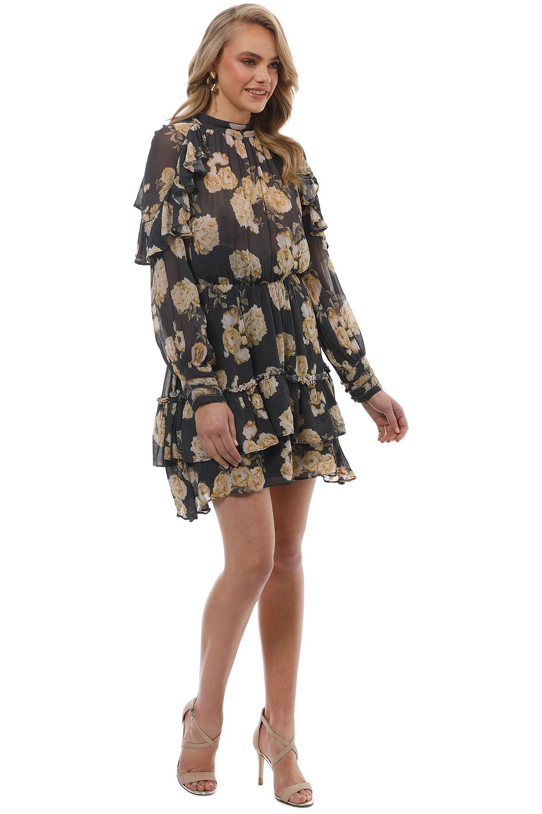 Talulah - In The Mix Mini Dress - Yellow Floral - Side