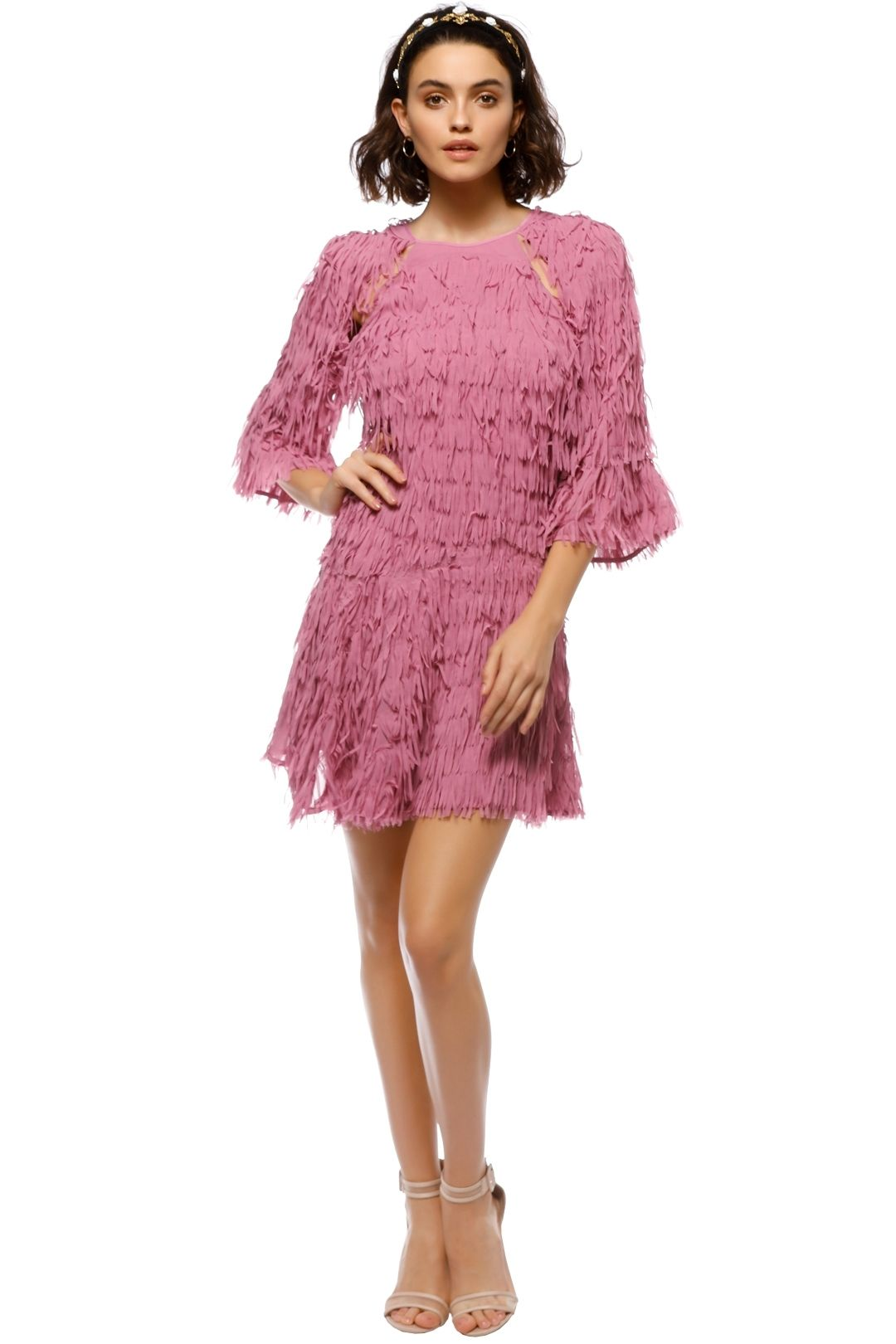 Talulah - Leilani Fringe Mini Dress - Pink - Front