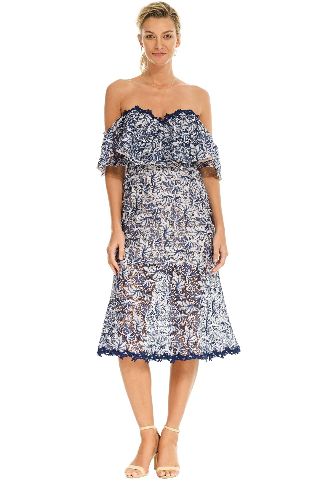 Talulah - Lifetime Off Shoulder Midi Dress - Blue - Front