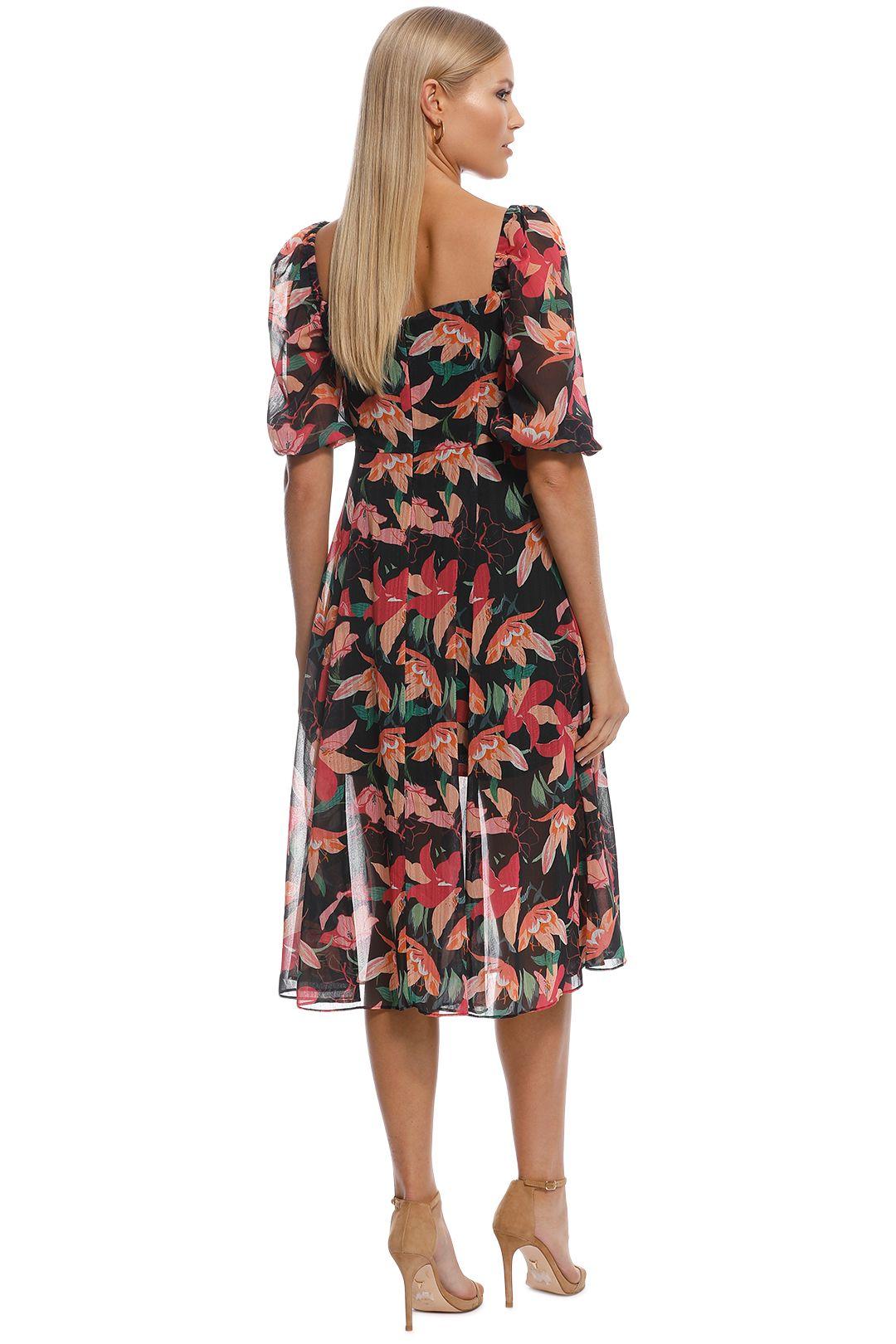 Talulah - Night Mirage Midi Dress - Black Floral - Back