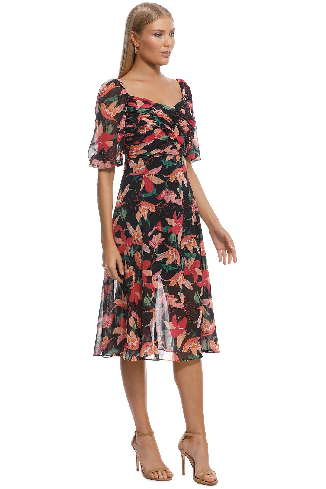 Talulah - Night Mirage Midi Dress - Black Floral - Side