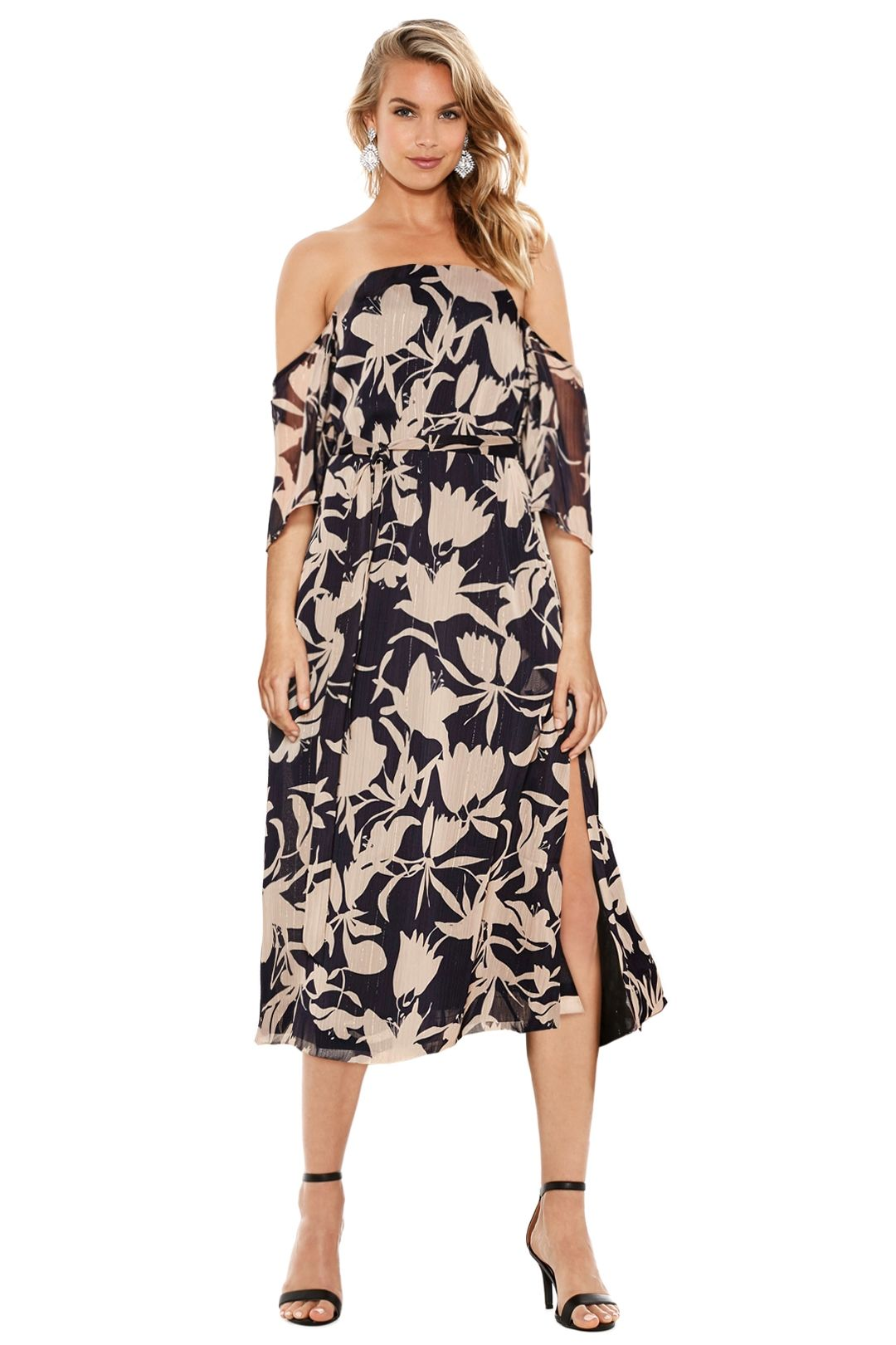 Talulah - Orchard Off The Shoulder Maxi Dress - Navy Floral - Front