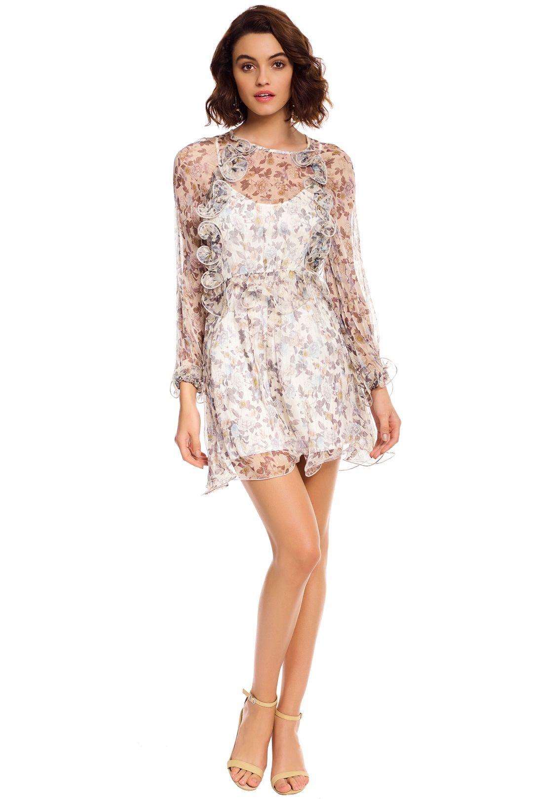 Talulah - Provacateur LS Mini Dress - Ivory Floral Silk - Front