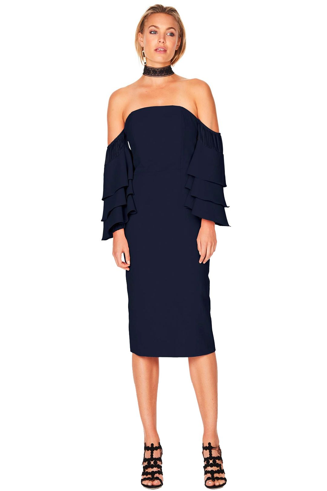Talulah - Sunday Ruffle Dress - Navy - Front