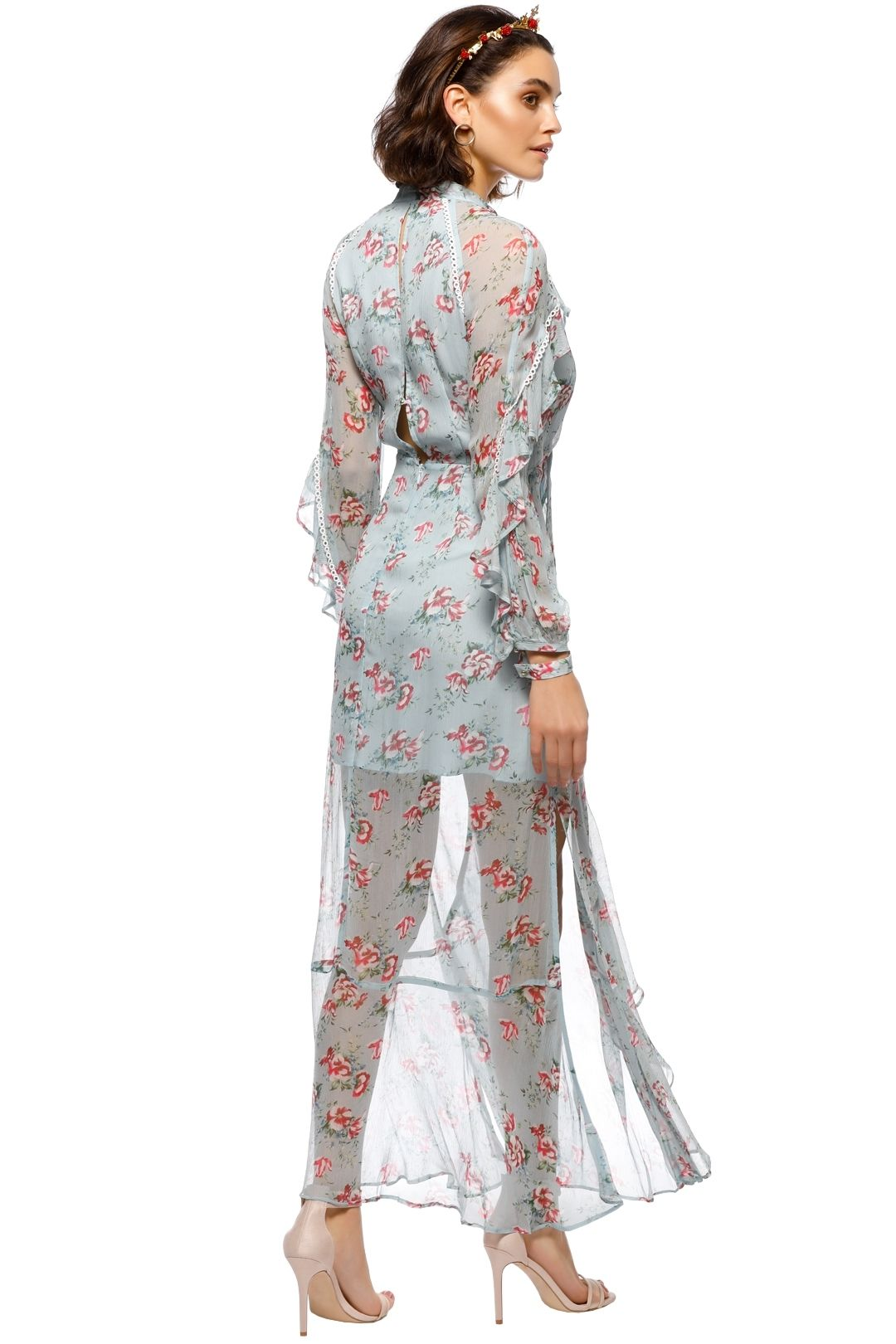 Talulah - The Knowing Midi Dress - Blue Floral - Back