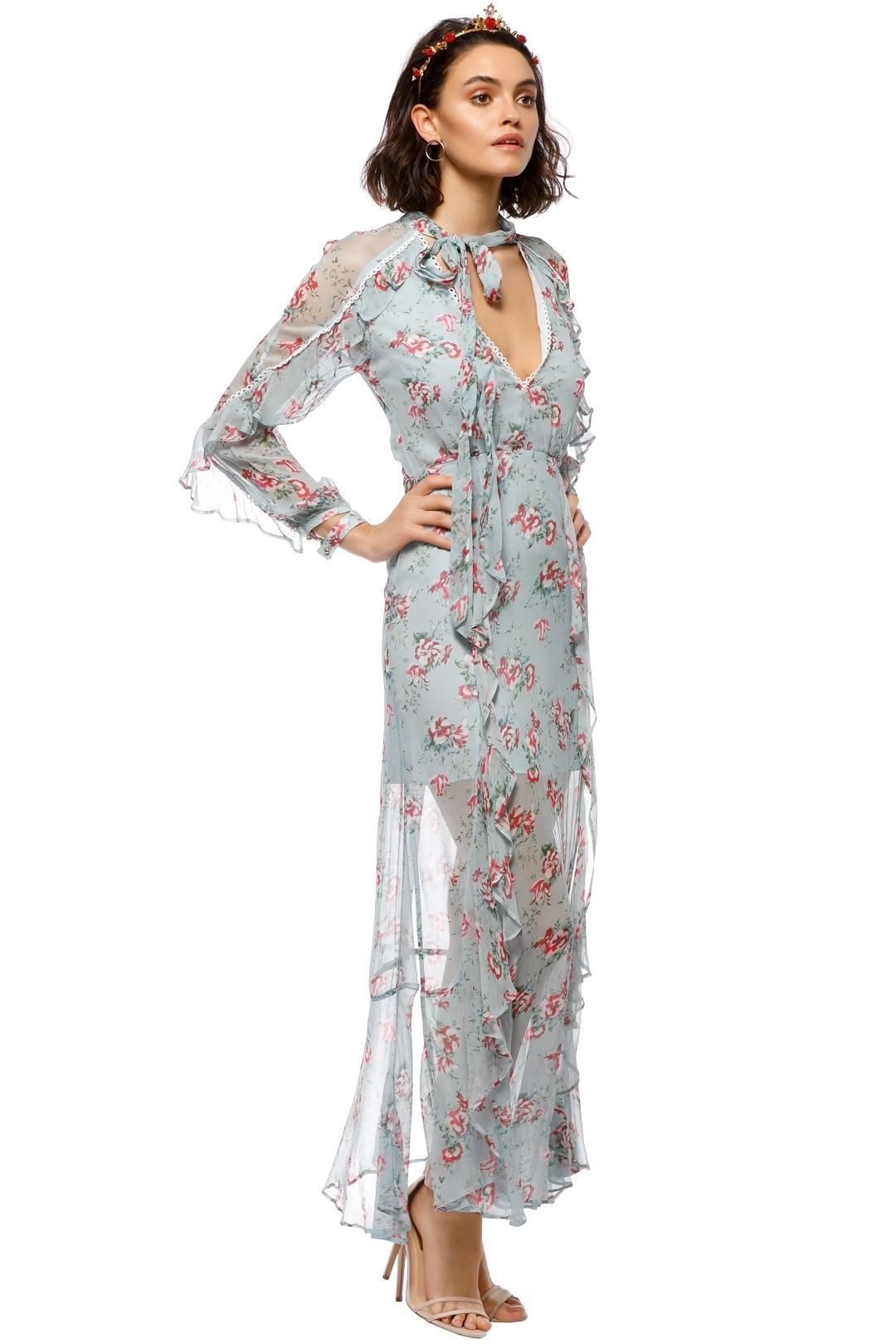 Talulah - The Knowing Midi Dress - Blue Floral - Side