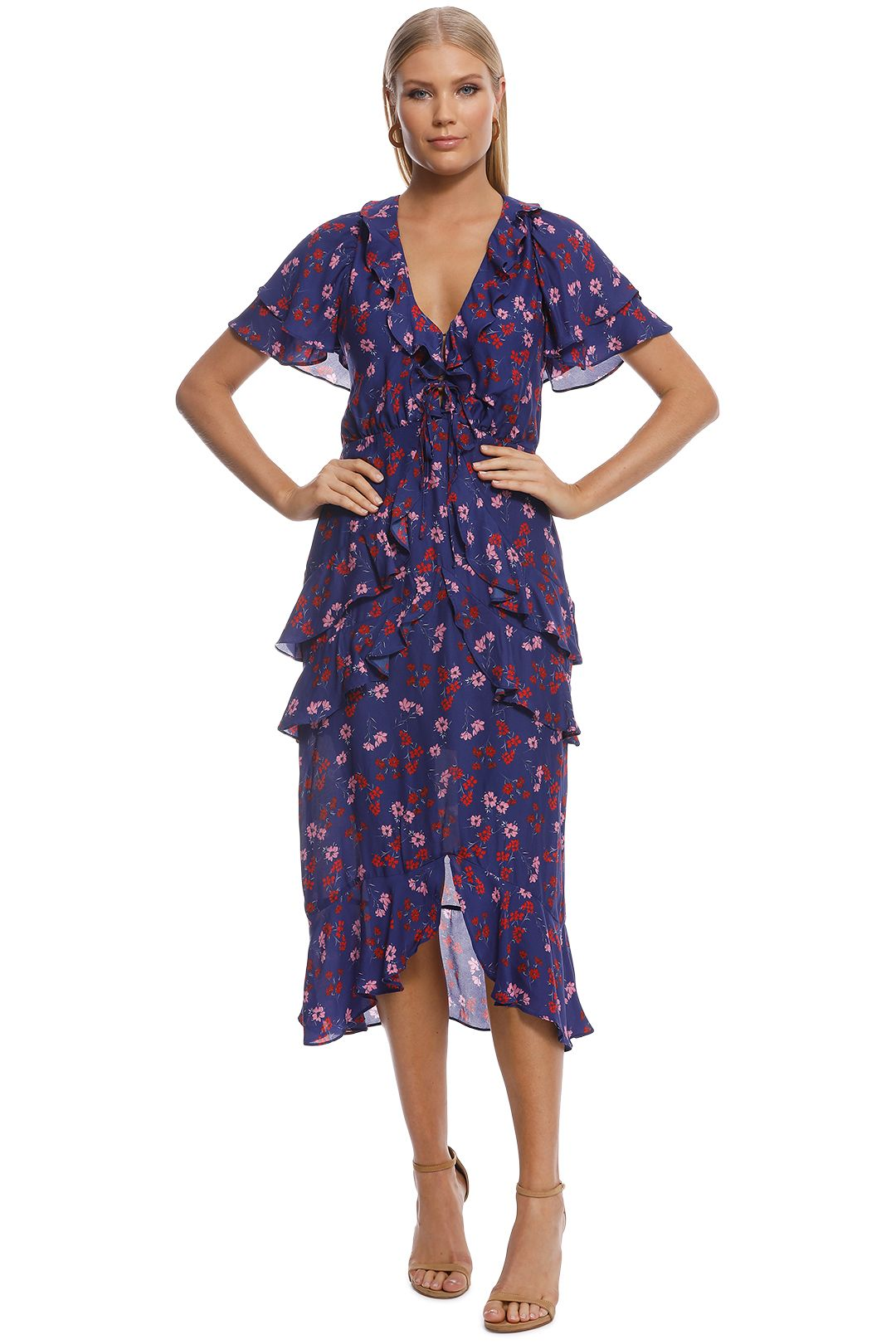 Talulah - The Yearning Ruffle Midi Dress - Blue - Front