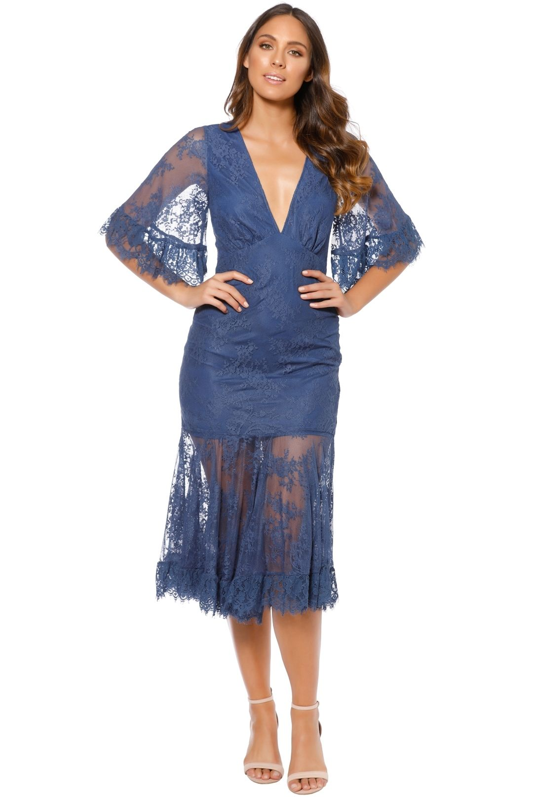 Talulah - Transpire Lace Maxi Dress - Blue - Front