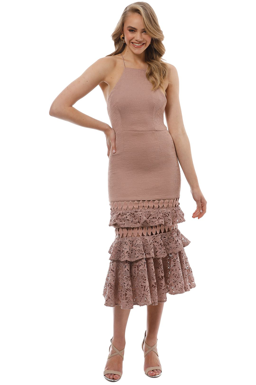 Talulah - Valencia Rose Halter Ruffle Midi Dress - Pink - Front