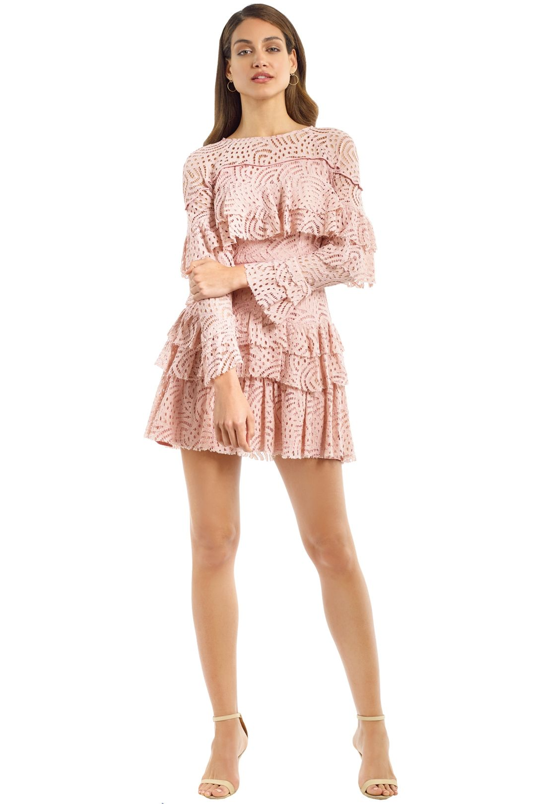 Talulah - Valencia Rose LS Mini Dress - Blush - Front