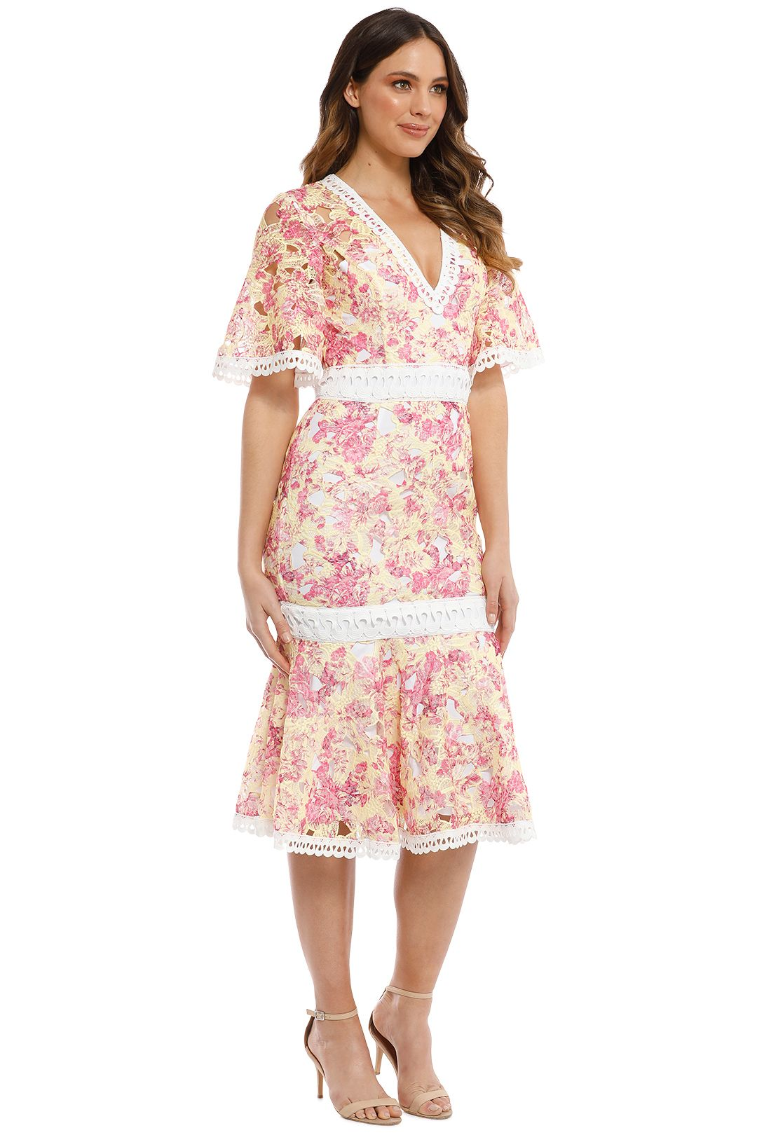 Talulah - Vienna Midi Dress - Wallpaper Rose - Side