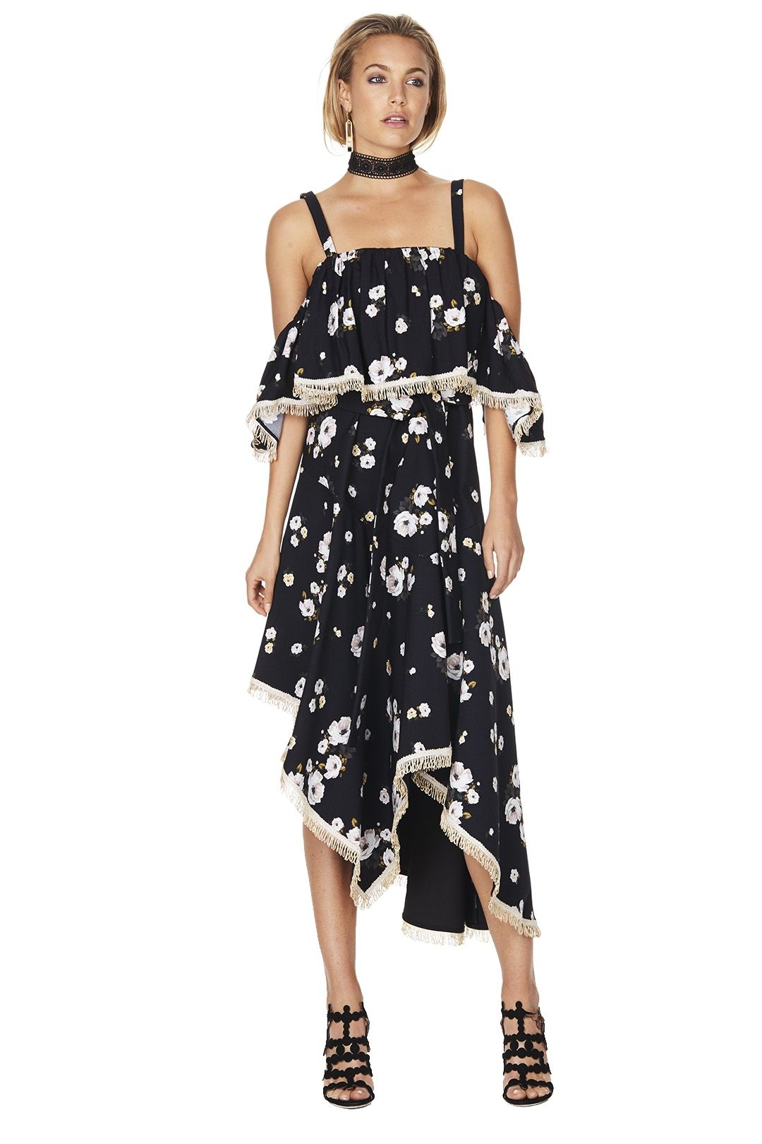 Talulah - Vintage Floral Dress - Black Floral - Front
