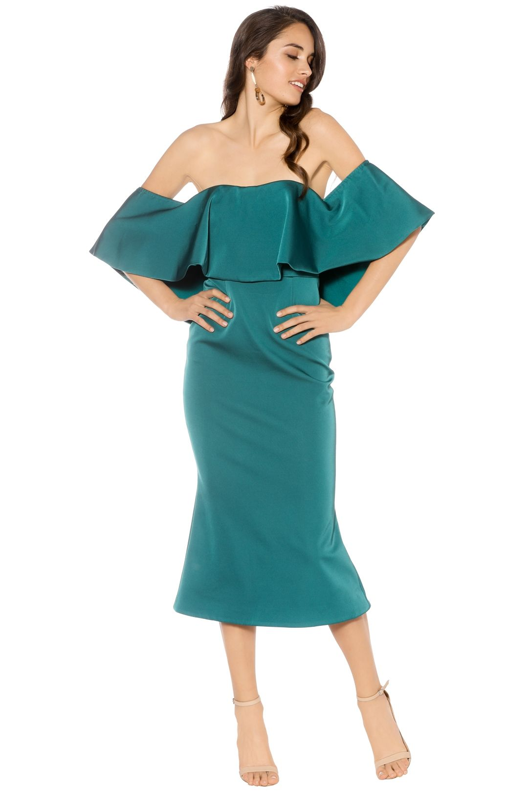 Talulah - Without You Midi - Emerald - Front - Teal