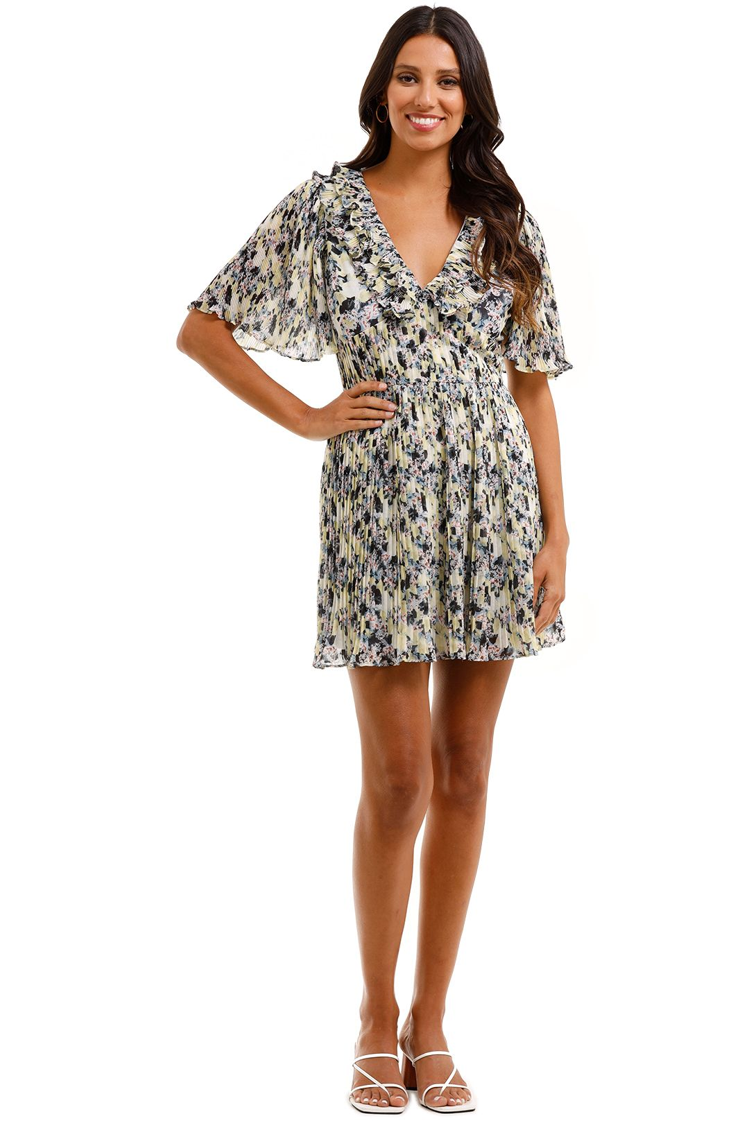 Talulah Birdette Mini Dress Olympia Floral Pleated Fabric