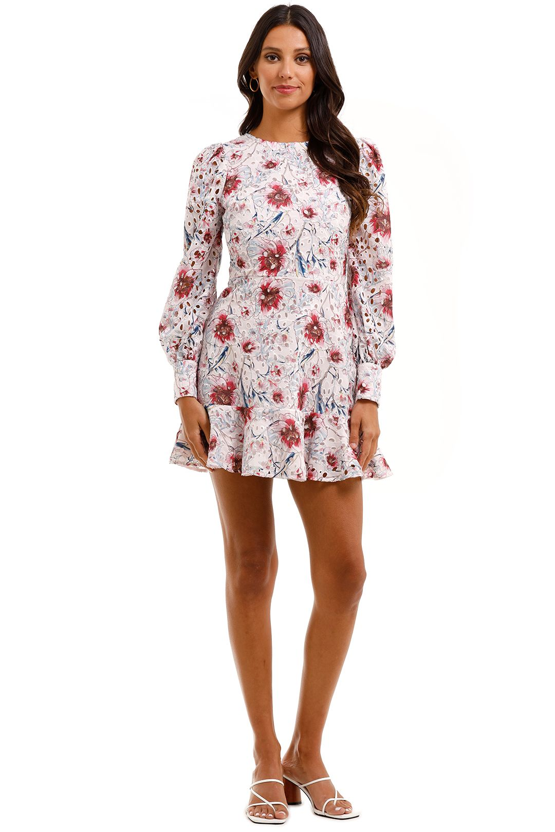 Talulah Bonita Long Sleeve Mini Dress Casablanca Print Front Lace
