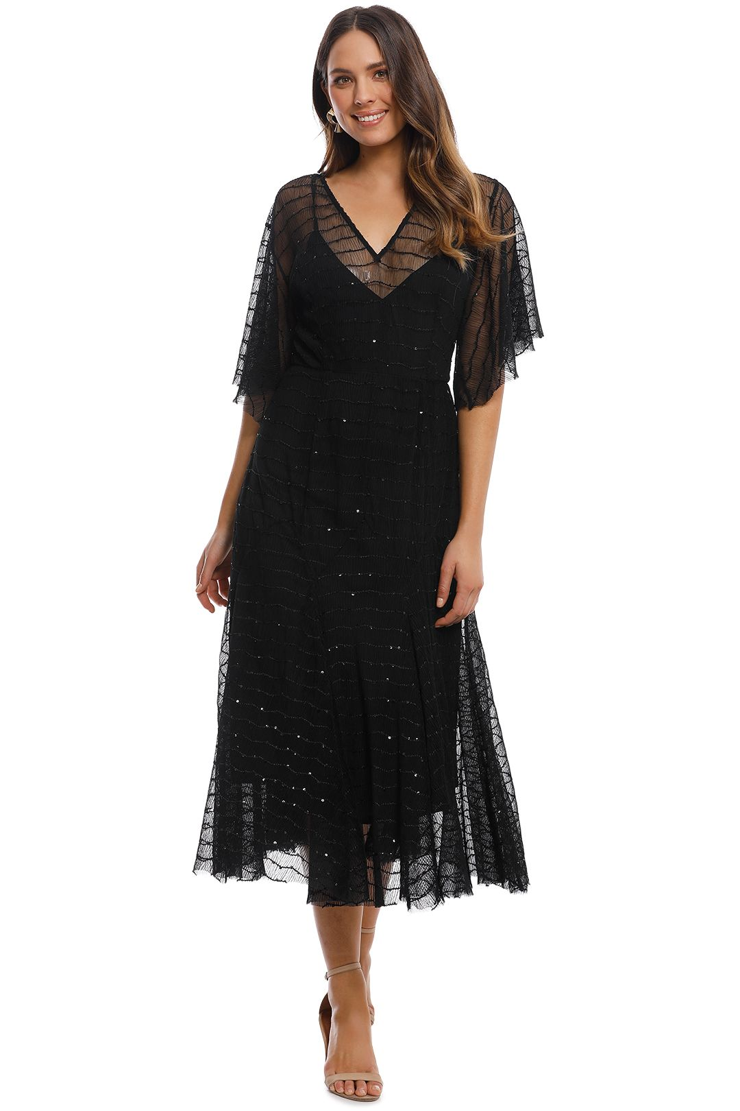 Talulah - Candid Lace Midi Dress - Black - Front