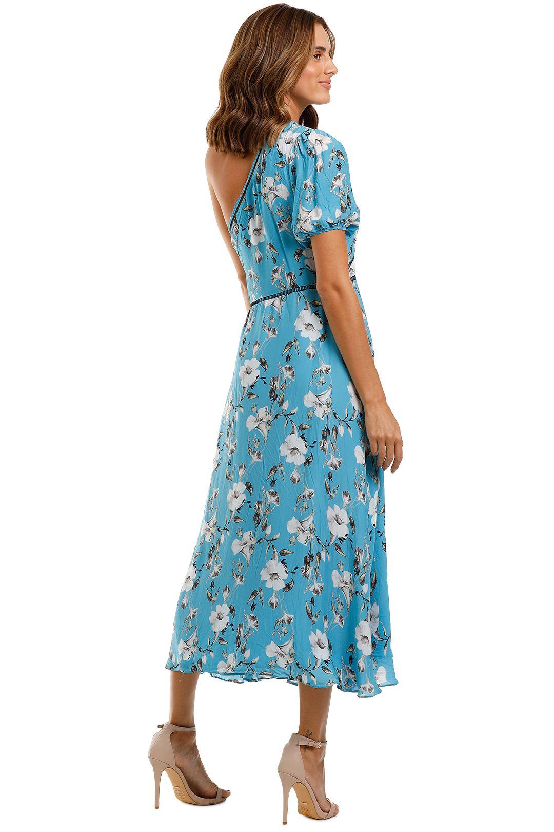 Talulah Cannes Midi Dress Blue Valentine Floral Asymmetrical