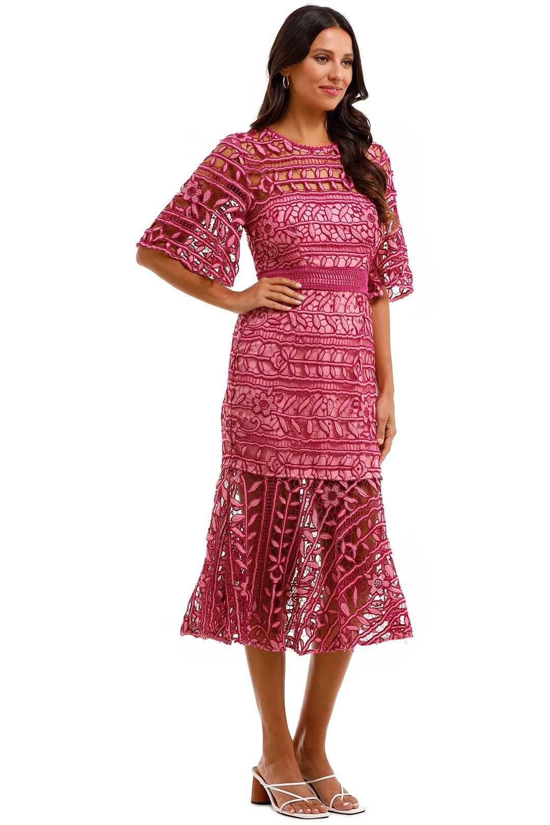 Talulah Caprice Midi Dress Pink Flare Sleeves