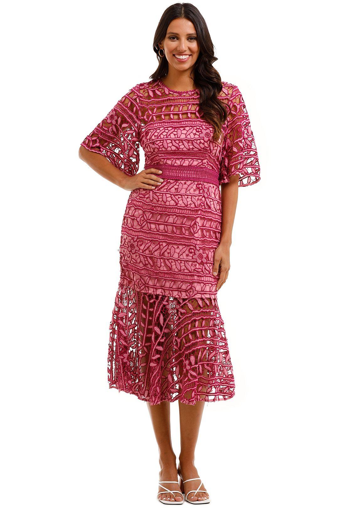 Talulah Caprice Midi Dress Pink Multi Leaves Lace