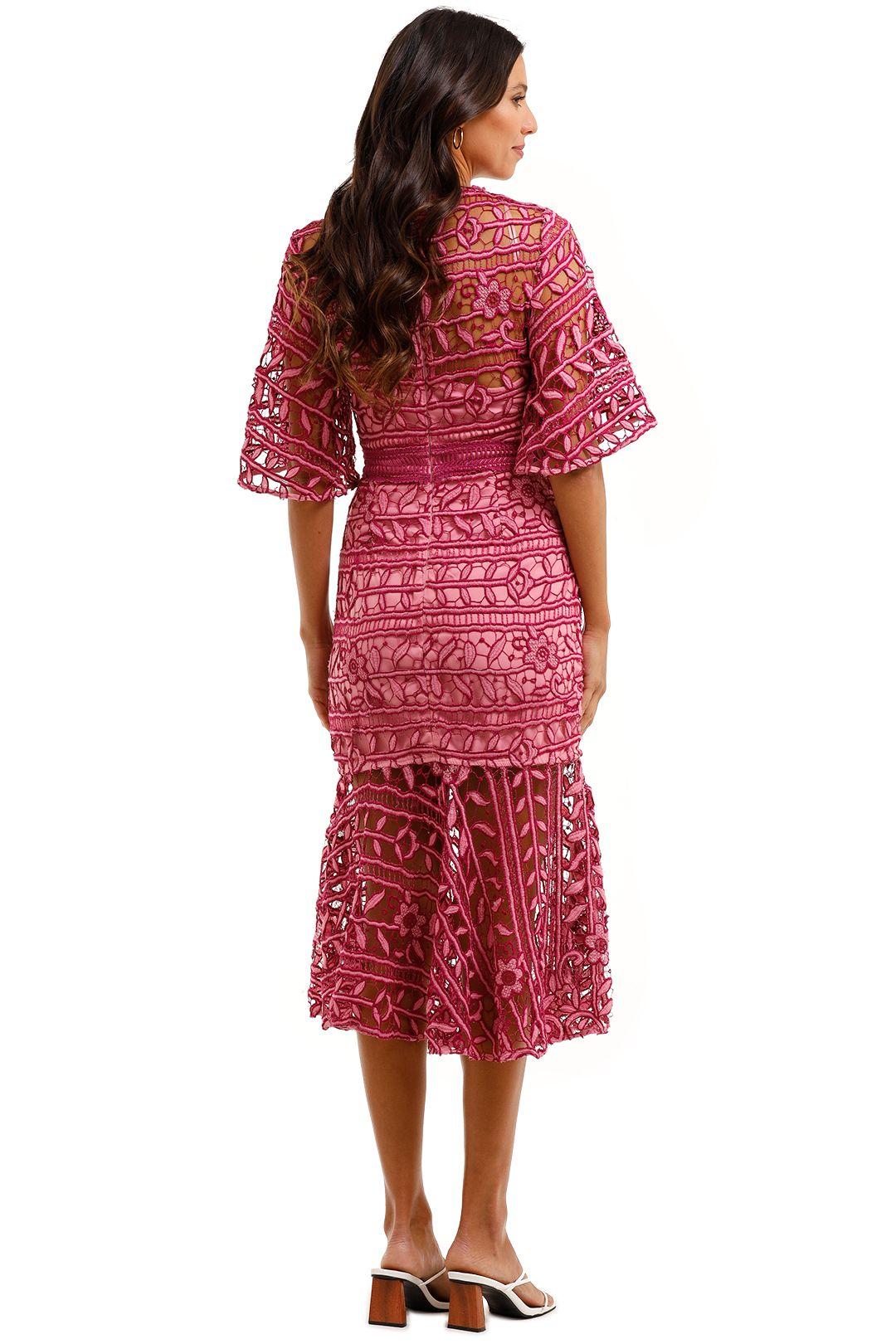 Talulah Caprice Midi Dress Pink Multi Fit and Flare