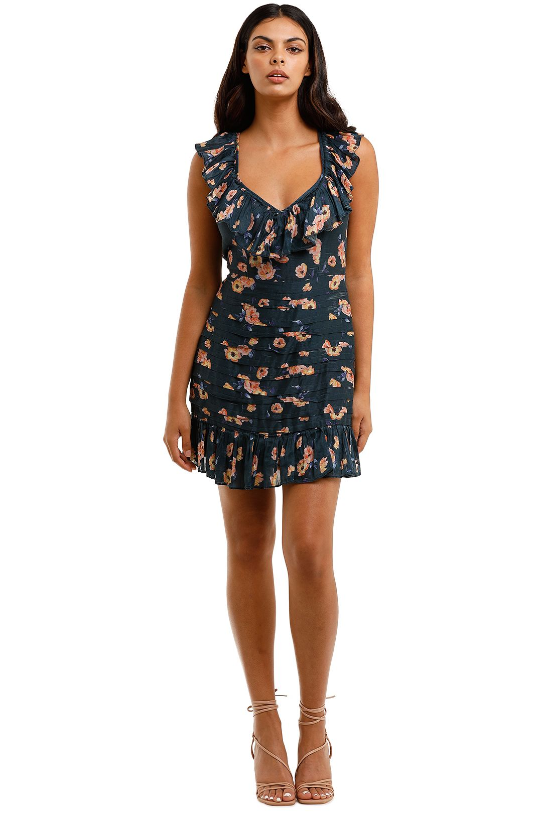 Talulah Chain of Fire Mini Dress Henri Floral V neck