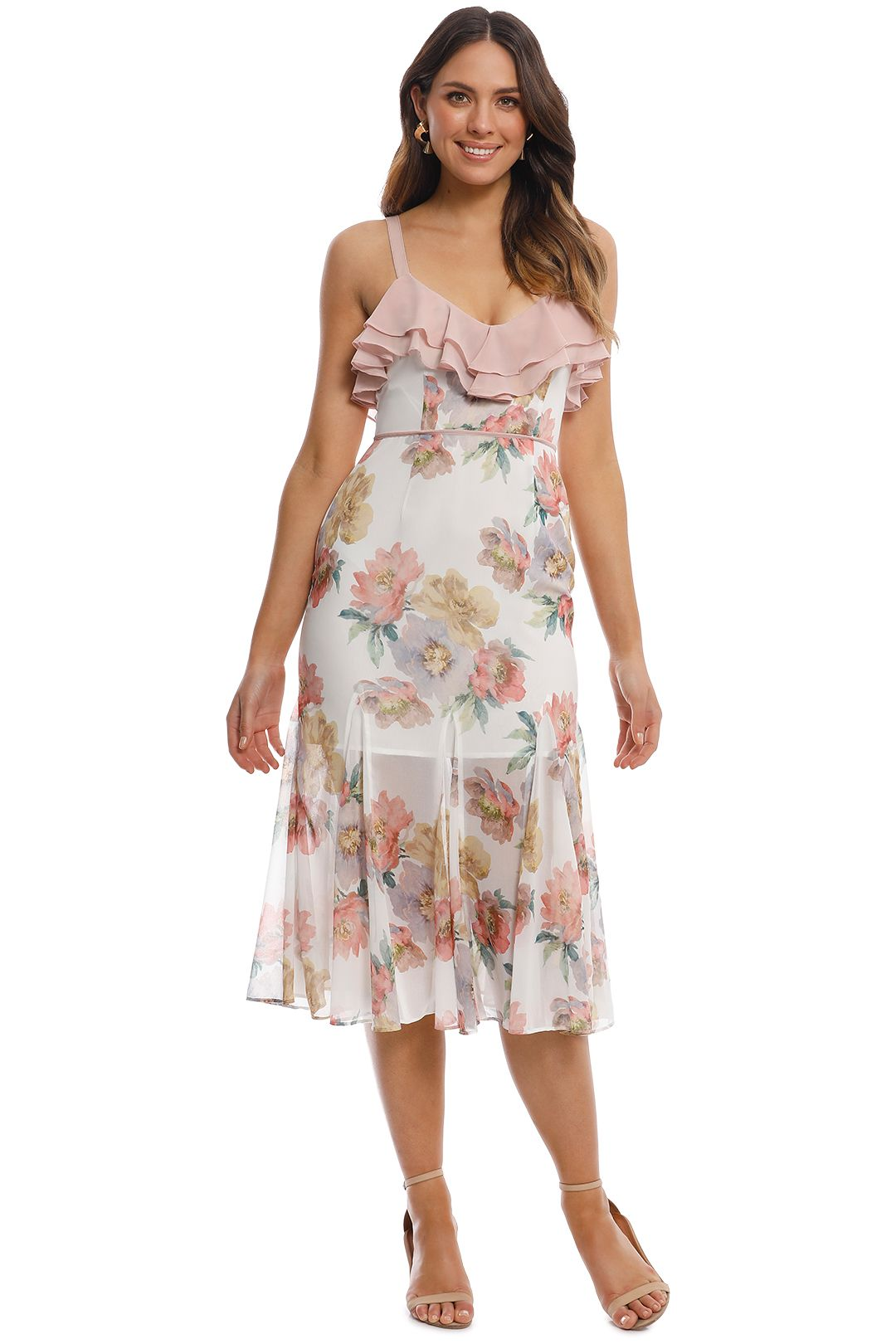 Talulah - Darcy Midi Dress - White Floral - Front