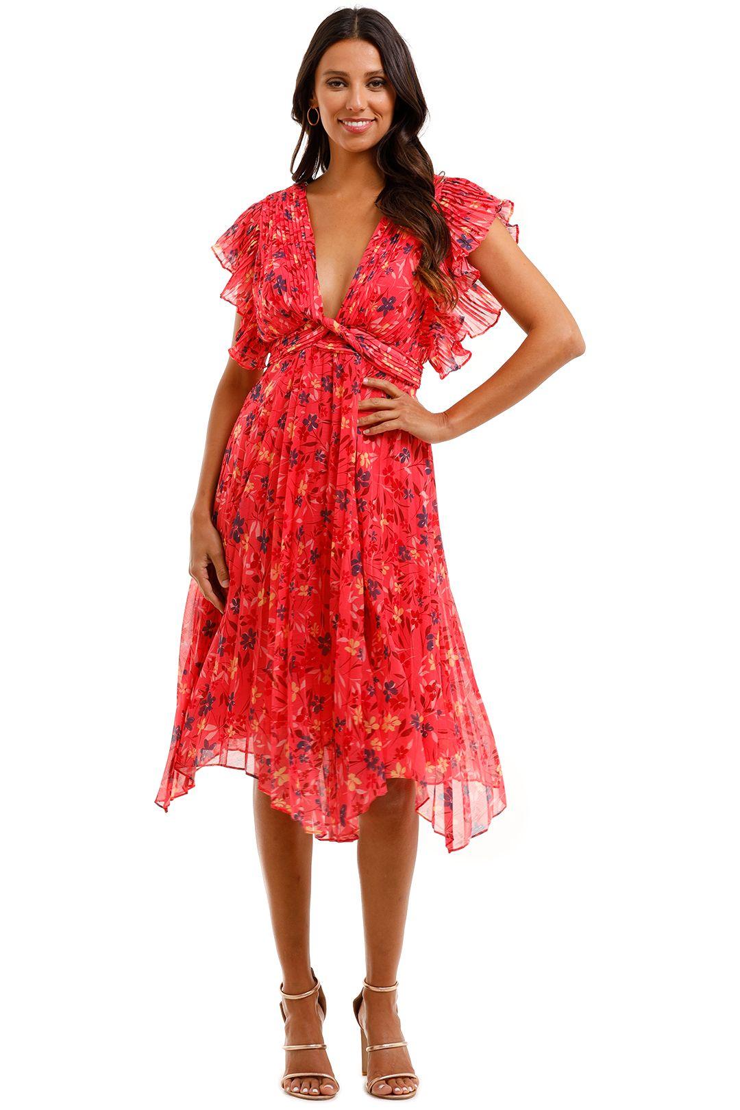 Talulah Daze Midi Dress Pink V Neckline Plunge