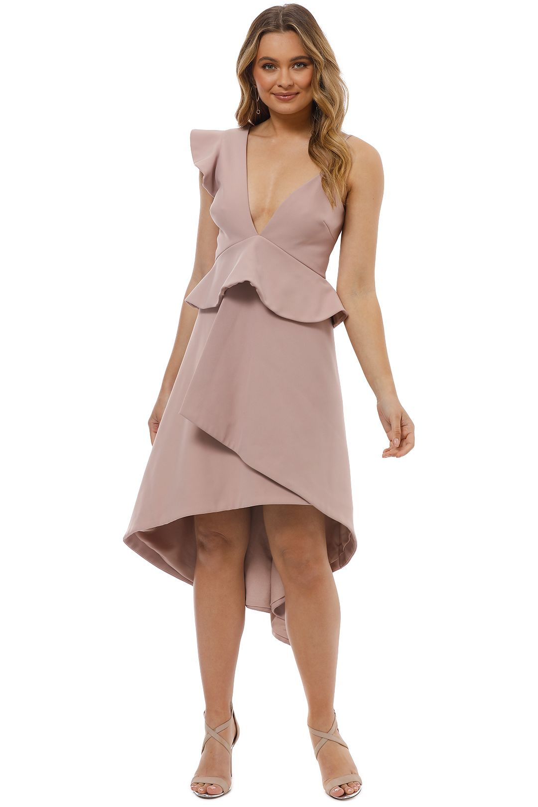 Talulah - The Sisters Asymmetrical Midi Dress - Pink - Front