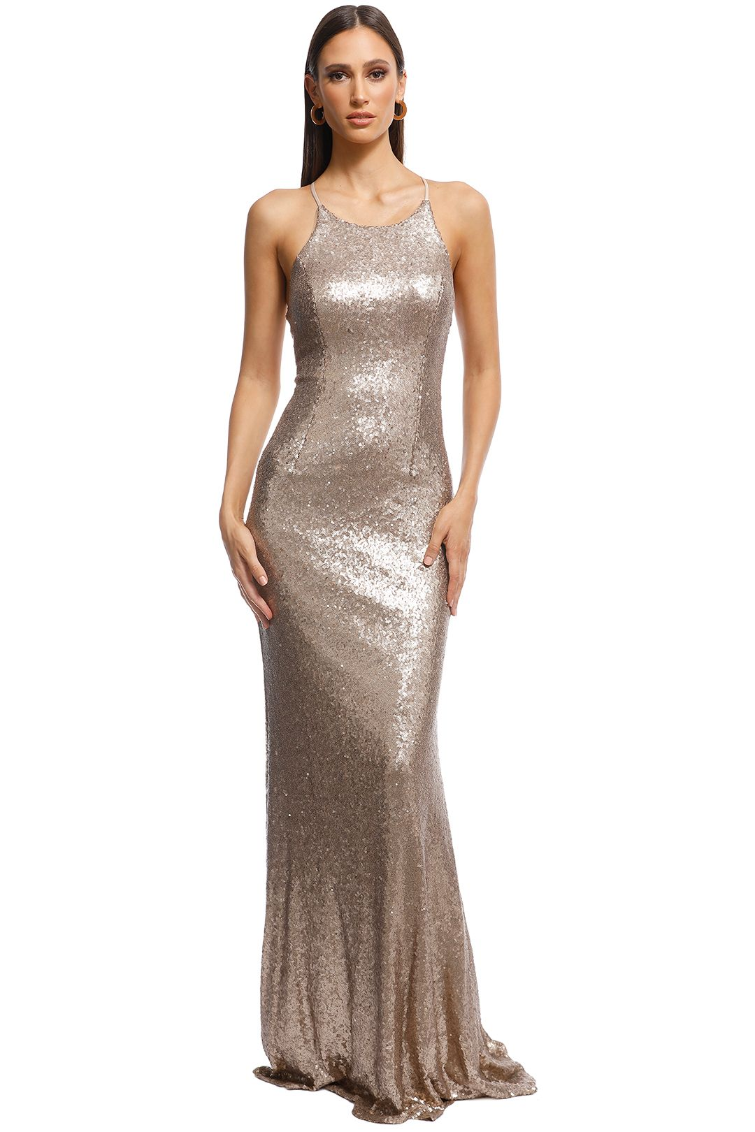 Tania Olsen - Sadie Sequin Gown - Gold - Front