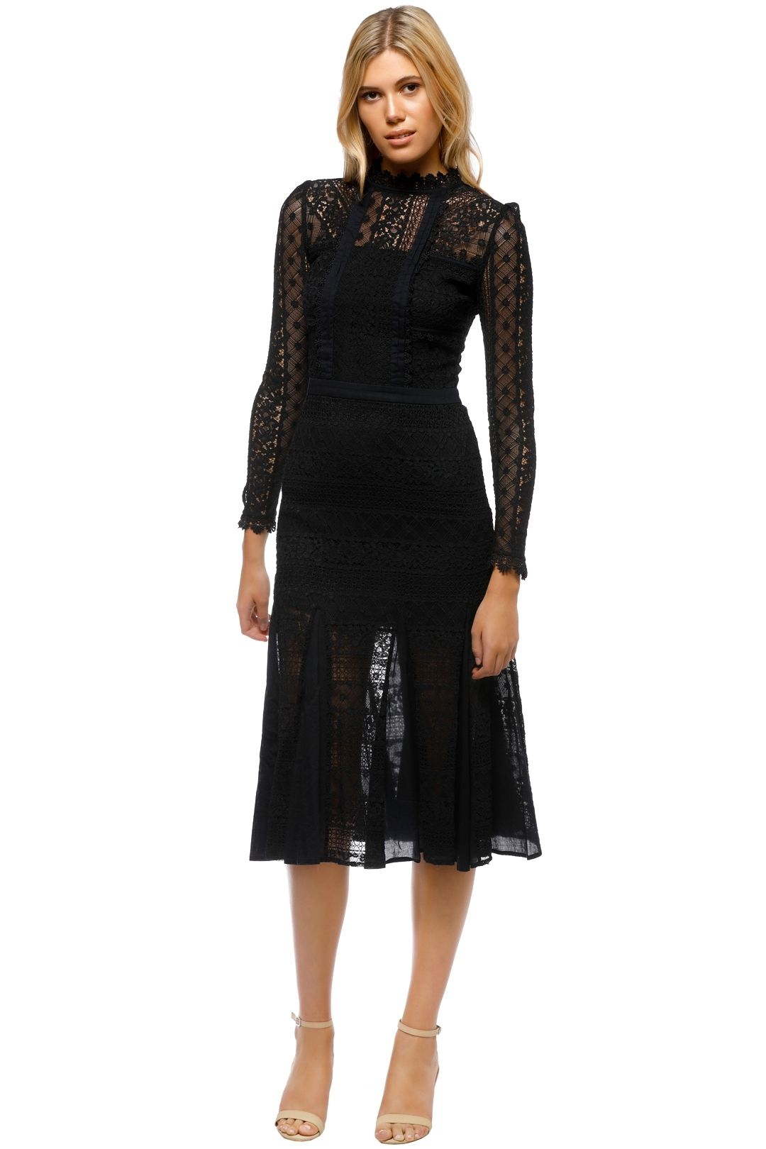 Temperley London - Desdemona Long Sleeved Lace Midi Dress - Black - Front