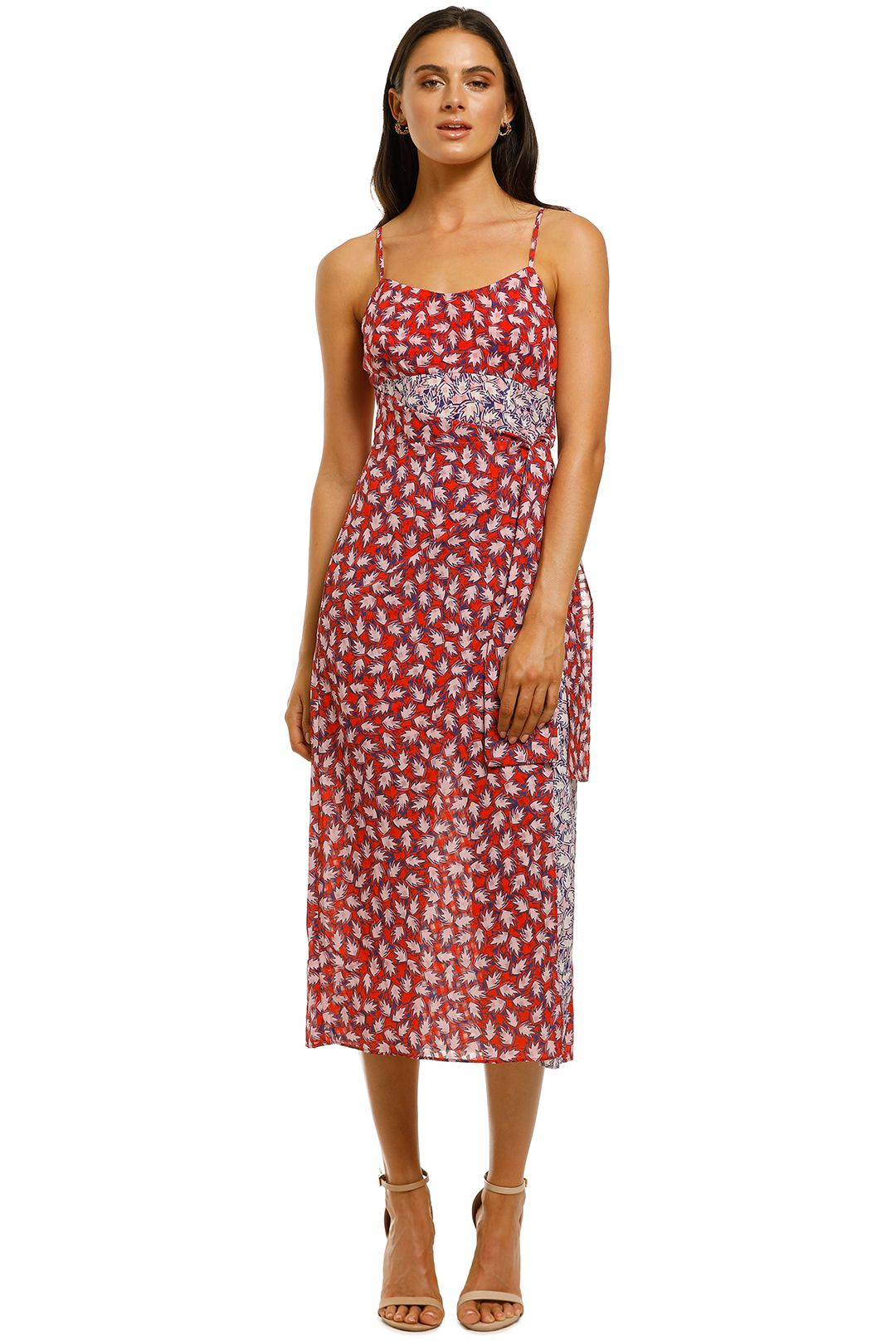 The-East-Order-Anouk-Midi-Dress-Red-Pink-Leaf-Front