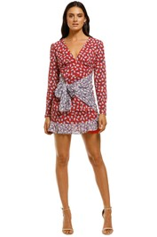 The-East-Order-Anouk-Mini-Dress-Red-Pink-Leaf-Front