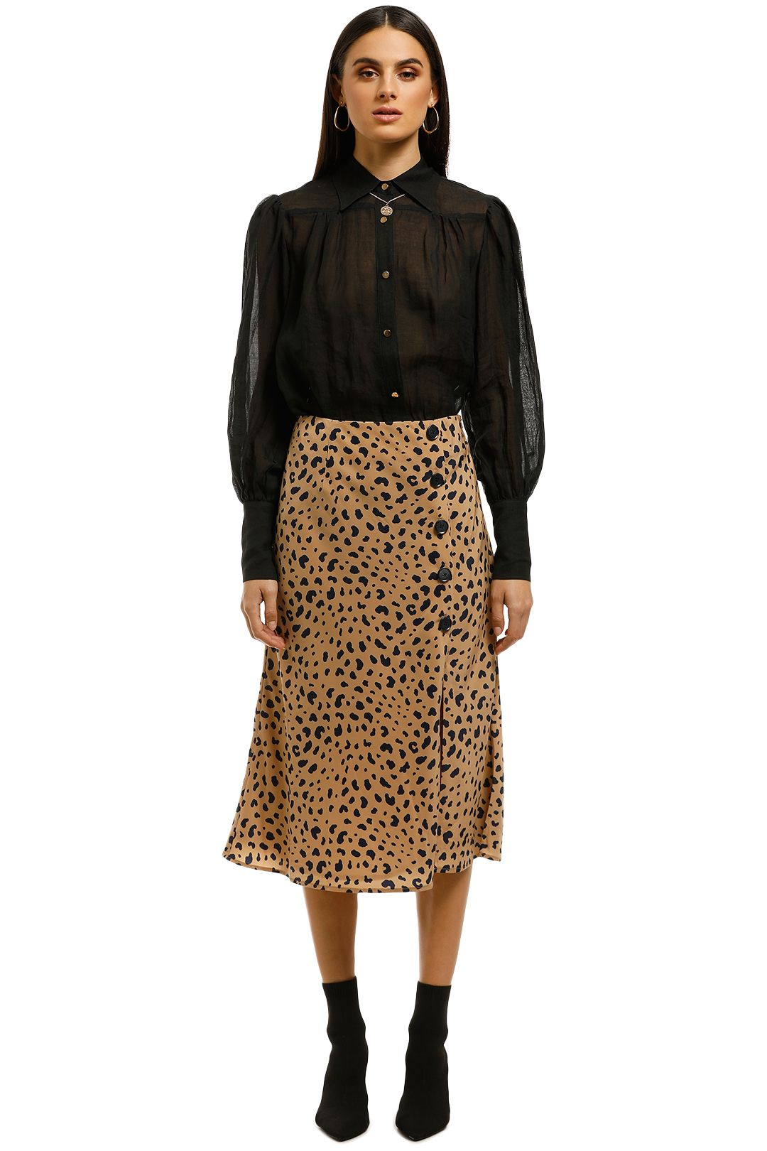 The-East-Order-Scarlett-Midi-Skirt-Animal-Print-Front